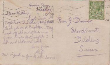 Reverse of postcard from Alf 1914