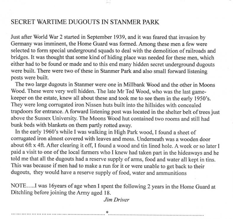 Jim Driver recalls finding the secret wartime dugouts at Stanmer in the 1950's with the help of Ted Wood, game-keeper. | Jim Driver