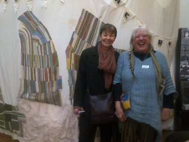 Knitting the Map display with Sue Craig and Caroline Lucas MP