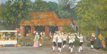 Painting by Charlie Yeates depicting the village fayre at Stanmer