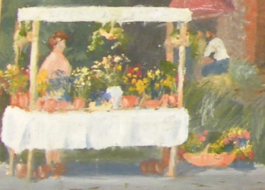 Close up of the flower stall from Charlie Yeates' painting