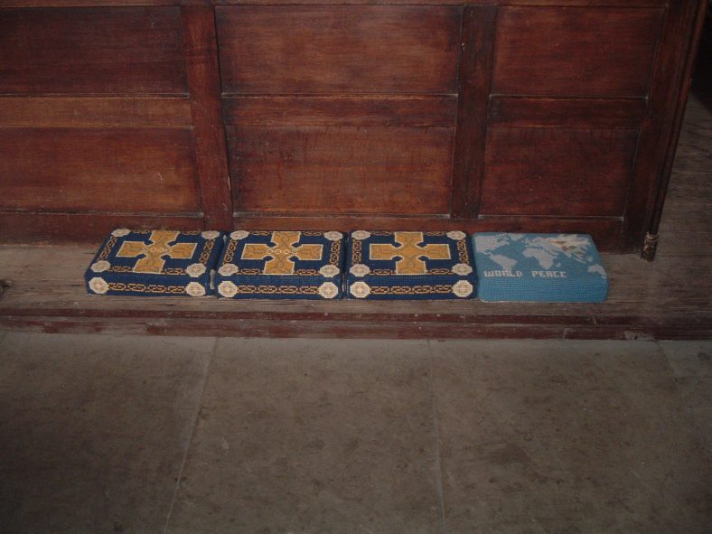 Pew Cushions in Stanmer Church.